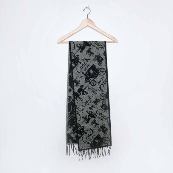 Coach wool-cashmere horse & carriage scarf